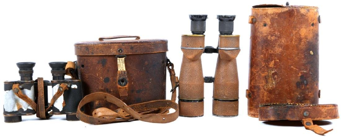 WWI US MILITARY BINOCULARS WITH CASE LOT OF 2