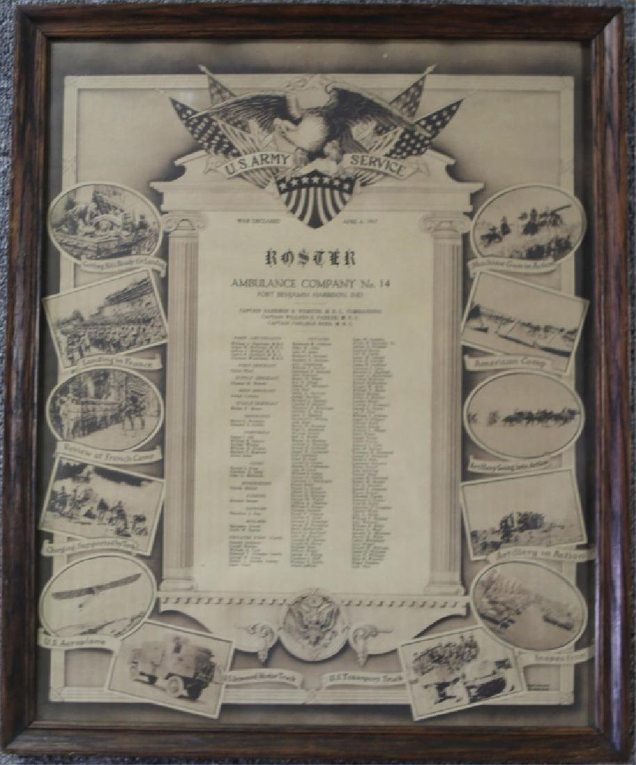 WWI US ARMY SERVIE ROSTER AMBULANCE COMPANY
