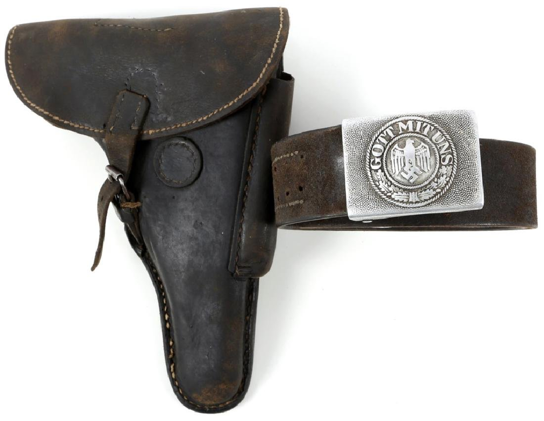 WWII GERMAN LEATHER PISTOL HOLSTER AND BELT