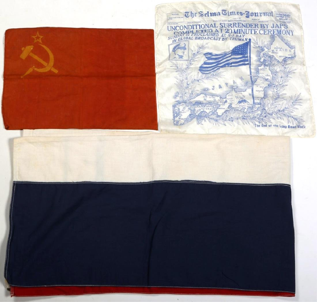 WWII FLAGS AND BANNERS LOT OF 3