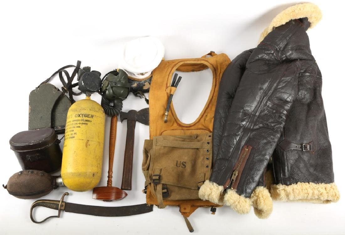US FLIGHT JACKET, OXYGEN TANK, LIFE JACKET, & MORE