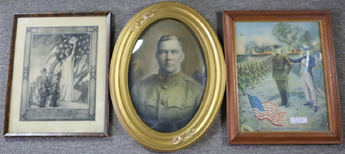 FRAMED US MILITARY PROPAGANDA, PORTRAIT, & PAPERS