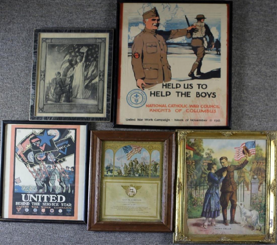 WWI US FRAMED POSTER LOT OF 5