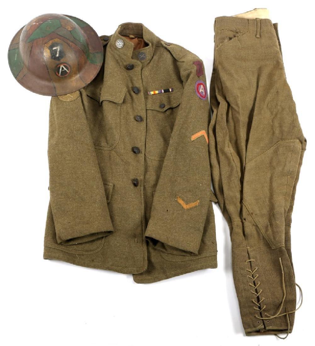 WWI US VII CORPS 3rd ARMY UNIFORM & PAINTED HELMET