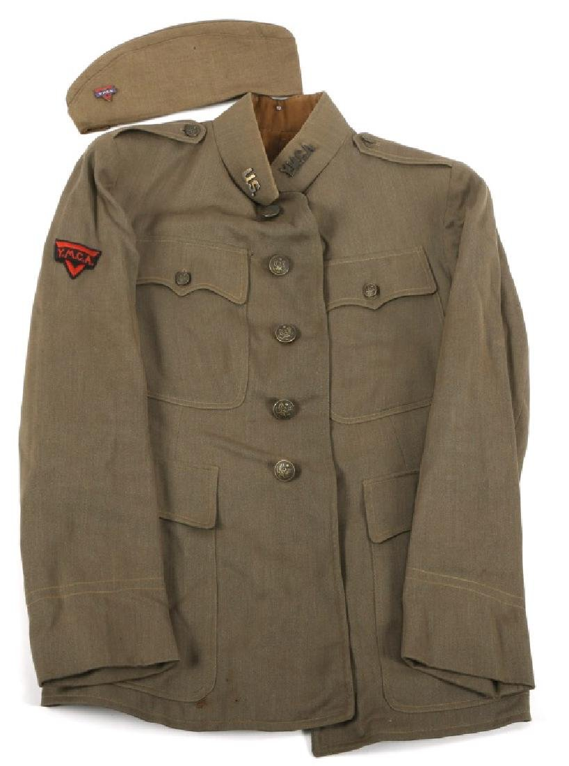 WWI US ARMY YMCA OFFICER TUNIC AND OVERSEAS HAT