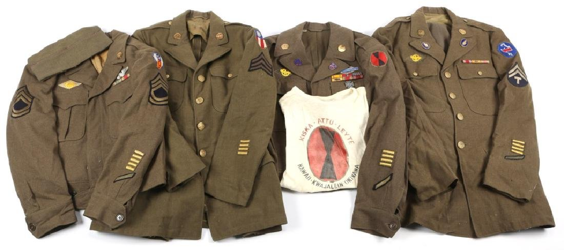 WWII US ARMY NCO UNIFORM AND INSIGNIA LOT OF 4