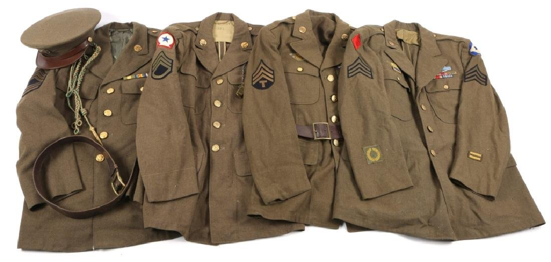 WWII US ARMY NCO UNIFORM AND INSIGNIA HAT LOT OF 4