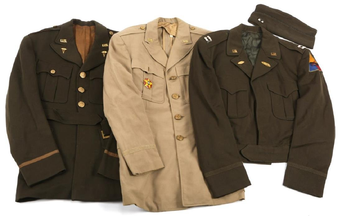 WWII US ARMY OFFICER UNIFORM LOT OF 3