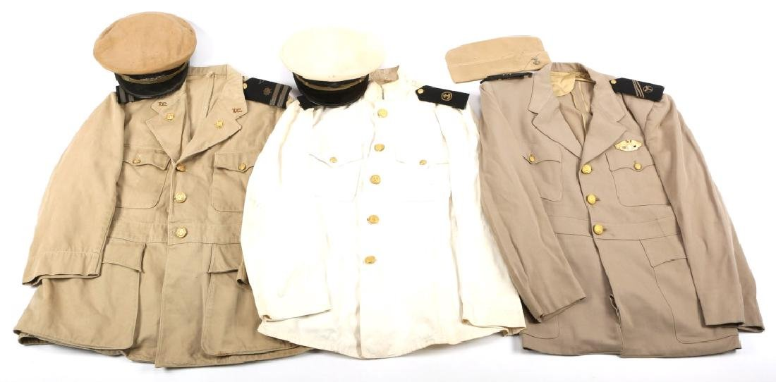 WWII US MERCHANT MARINE UNIFORM AND HAT LOT OF 3