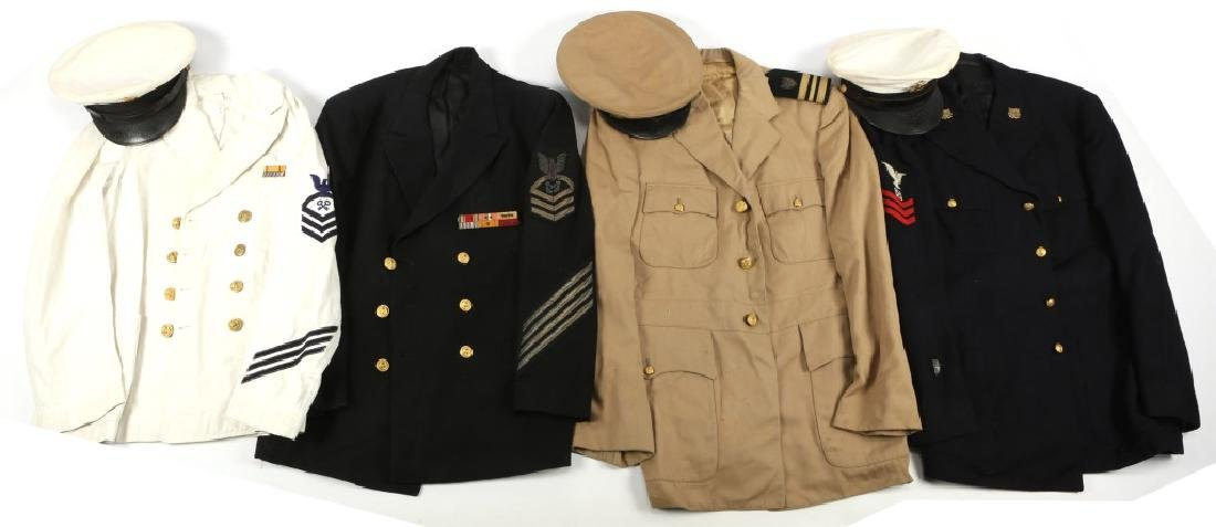 WWII US NAVY AND COAST GUARD UNIFORM LOT OF 4