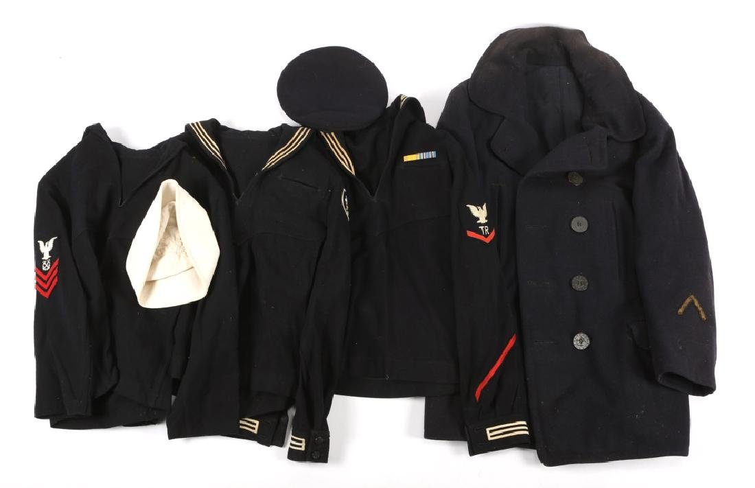 WWII US NAVY JUMPER AND PEACOAT LOT OF 4