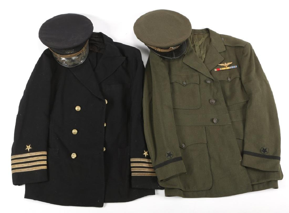 WWII US NAVY PILOT AND CAPTAIN UNIFORM LOT