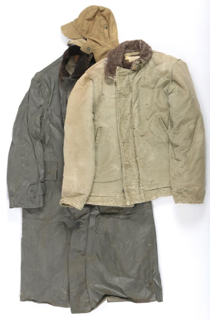 WWII US NAVY COLD WEATHER JACKET AND RAINCOAT LOT