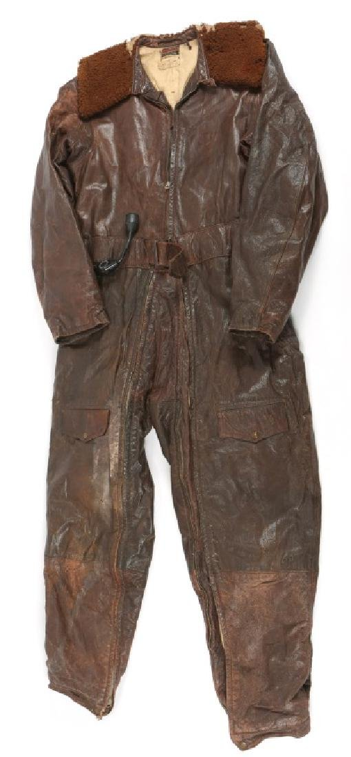 WWII US NAVY PILOT ELECTRICAL LEATHER FLIGHT SUIT