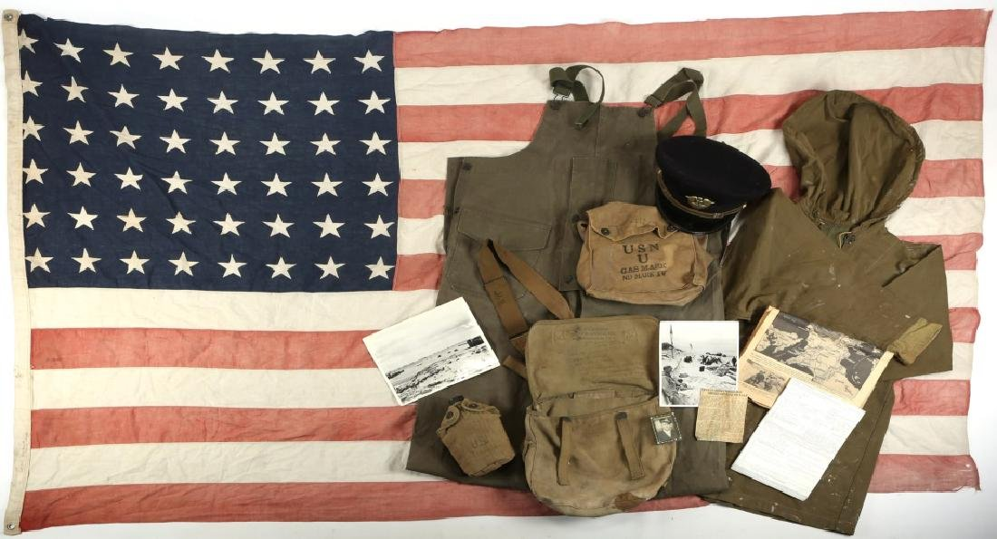 WWII D-DAY FLOWN FLAG LST 314 & LT. OAKES WWII ARCHIVE