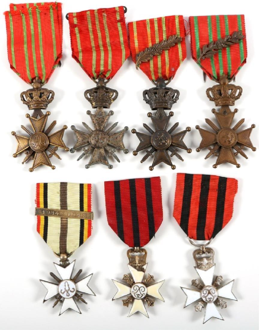 BELGIAN WWI MEDAL LOT OF 7 CROIX DE GUERRE SERVICE