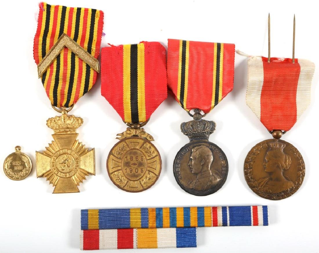 BELGIAN WWI MEDAL AND RIBBON BAR LOT