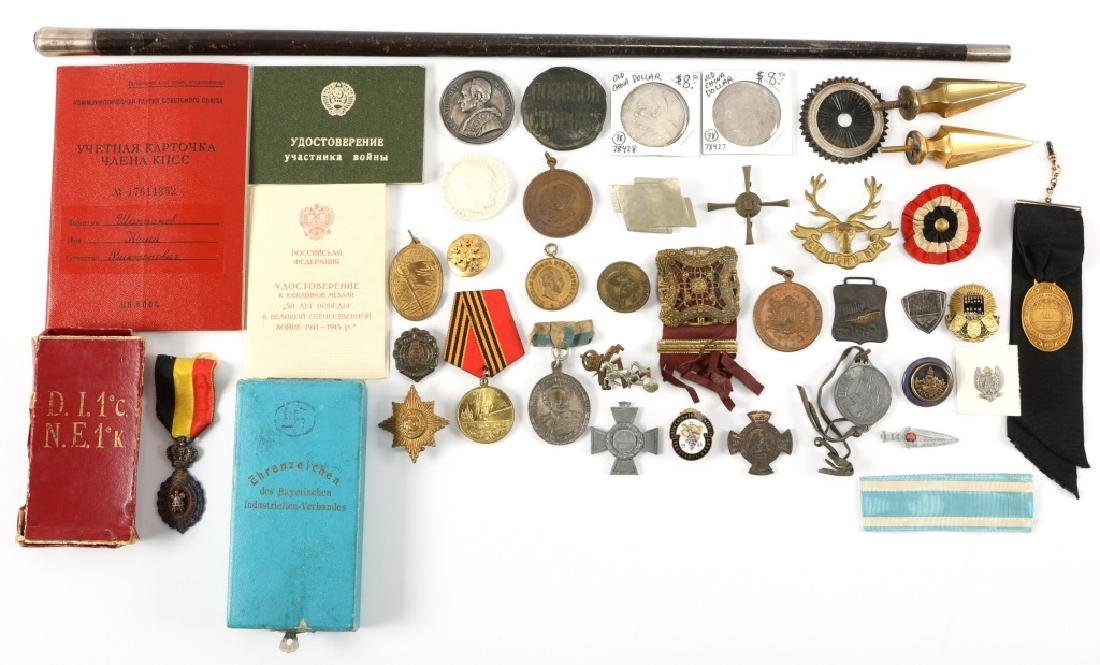LARGE LOT OF MILITARY MEDAL INSIGNIA  PIN AND MORE