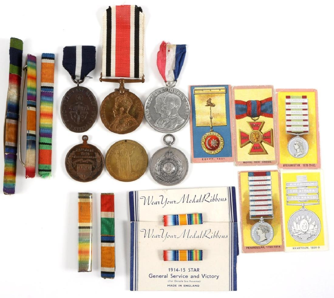 WWI BRITISH MEDAL AND RIBBON BAR LOT