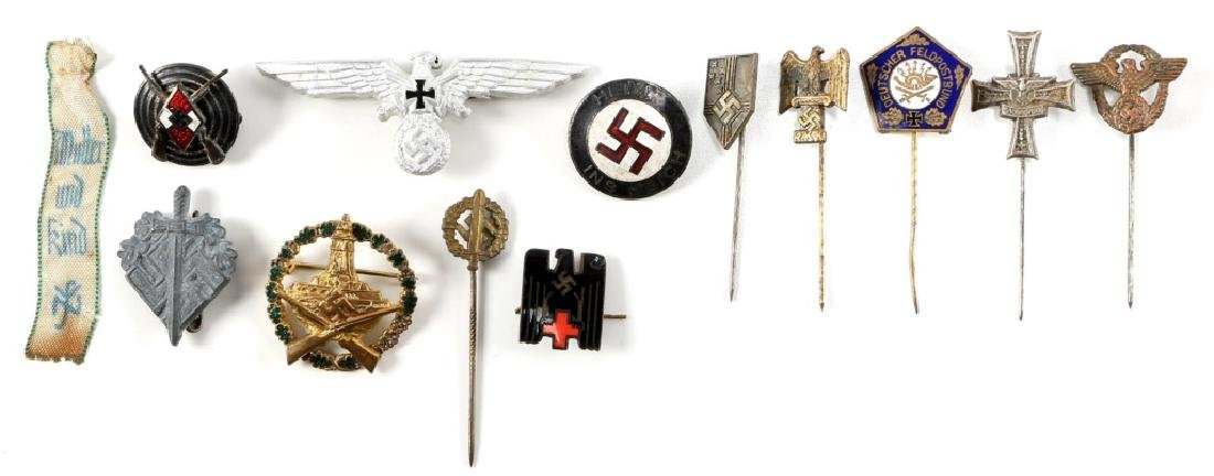 WWII GERMAM TIE PIN AND INSIGNIA LOT OF 13
