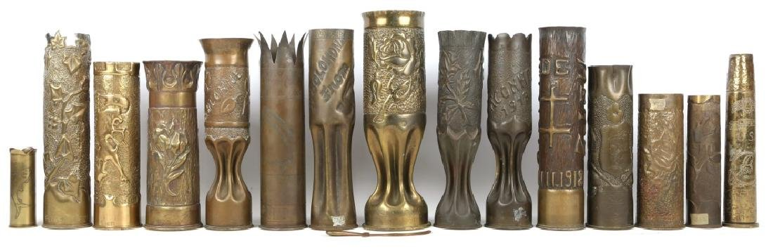 WWI SHELL TRENCH ART LOT OF 16