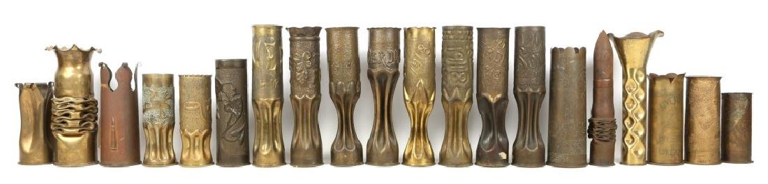 WWI SHELL TRENCH ART VASE LOT OF 20