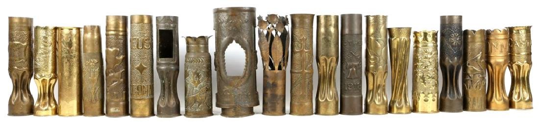 WWI SHELL TRENCH ART LOT OF 20
