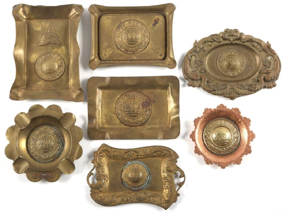 GERMAN GOTT MIT UNS BRASS ASHTRAY LOT OF 7