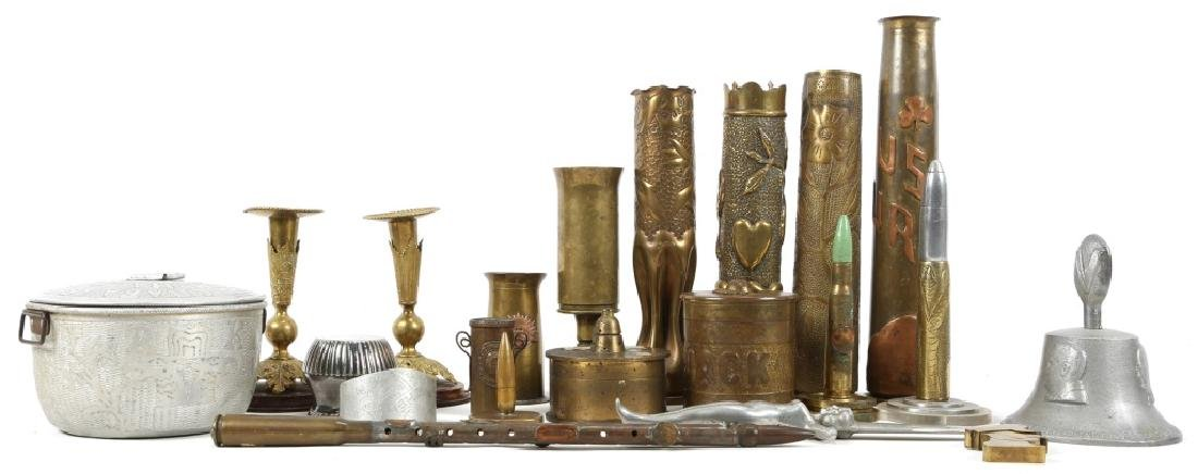 WWII SHELL TRENCH ART LOT OF 21