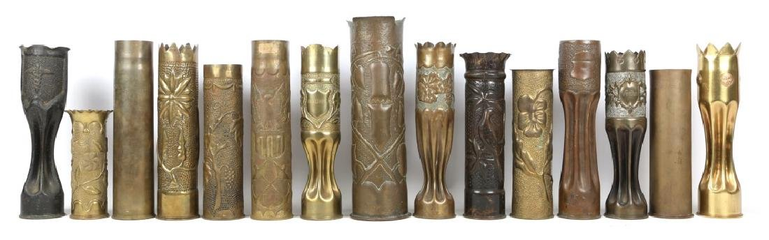 WWII ERA SHELL TRENCH ART LOT OF 15