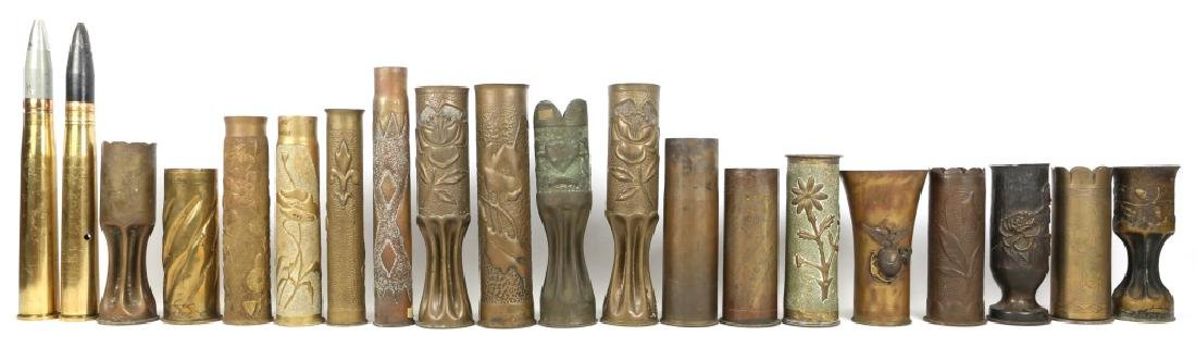 WWII SHELL TRENCH ART VASE LOT OF 20