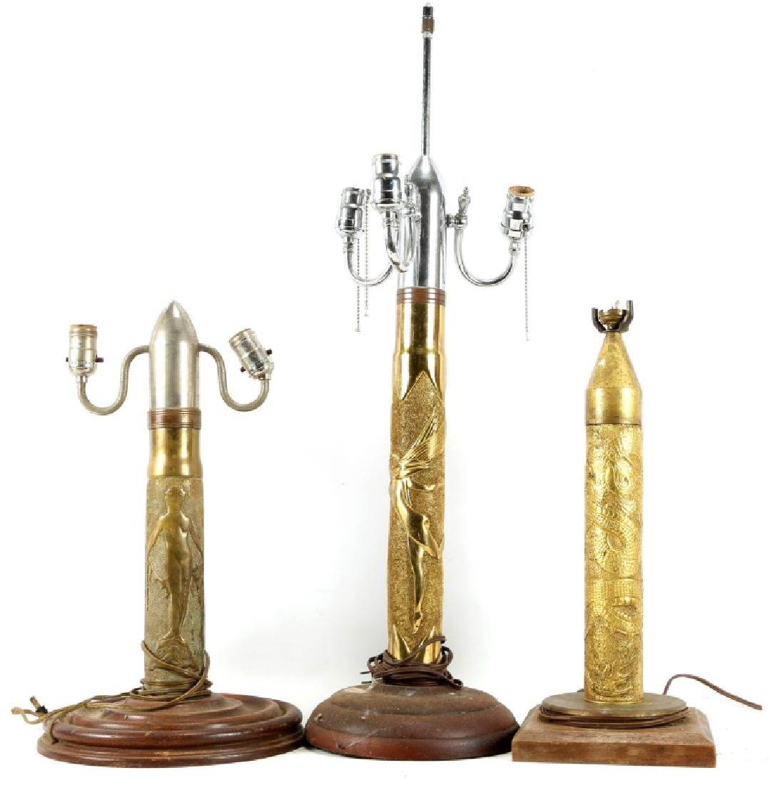 SHELL TRENCH ART LAMP LOT OF 3