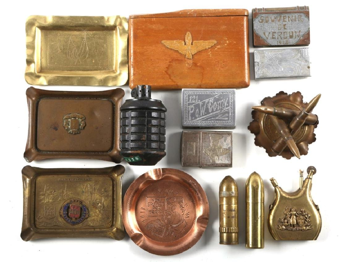 WWI TRENCH ART LIGHTER ASHTRAY LOT OF 13