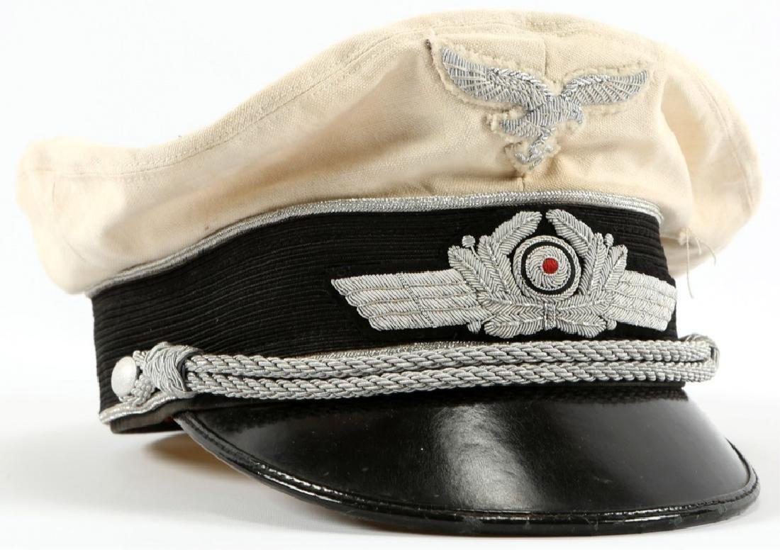 WWII GERMAN WHITE LUFTWAFFE OFFICER VISOR CAP