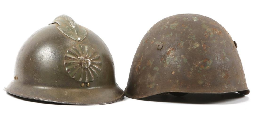WWII WORLD MILITARY COMBAT HELMET LOT OF 2