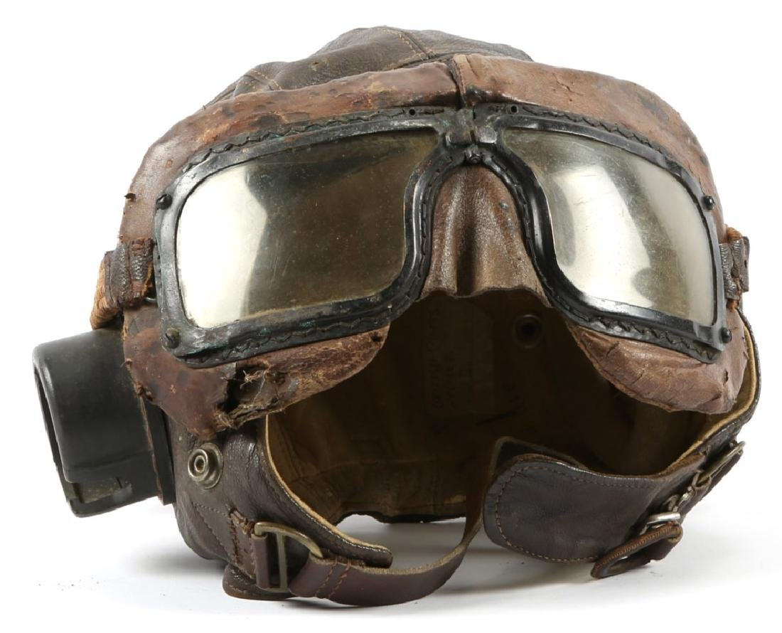 WWII BRITISH RAF PILOT FLIGHT HELMET WITH GOGGLES