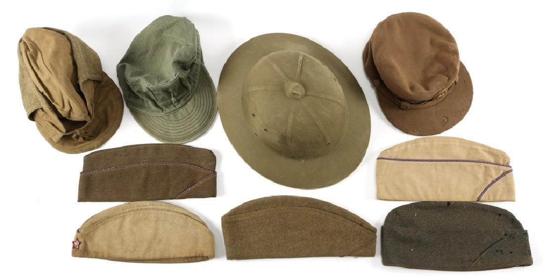 WWII US ARMY HAT HELMET AND CAP LOT OF 9