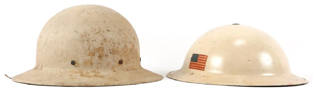 LOT OF 2 WWII CIVIL DEFENSE HELMETS