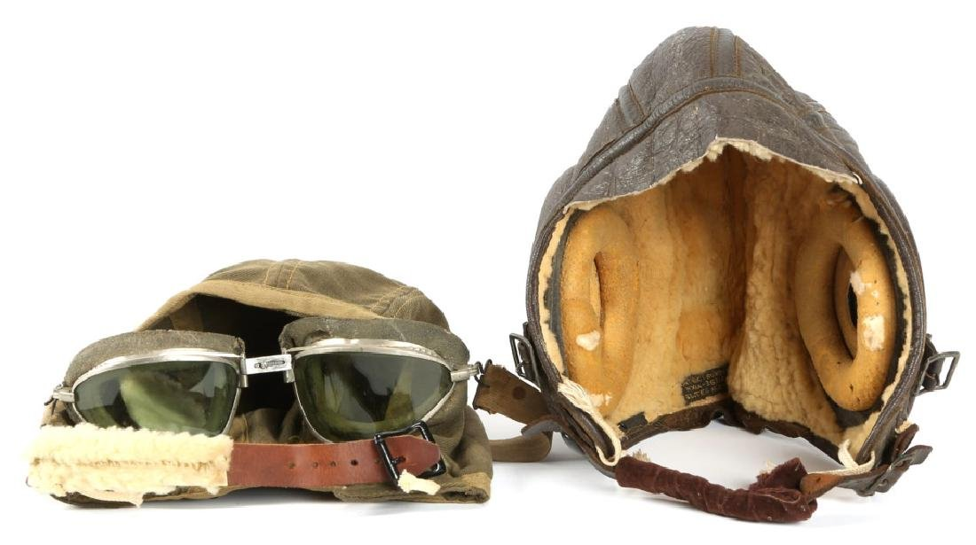WWII US ARMY AIR FORCE FLIGHT HELMET LOT OF 2