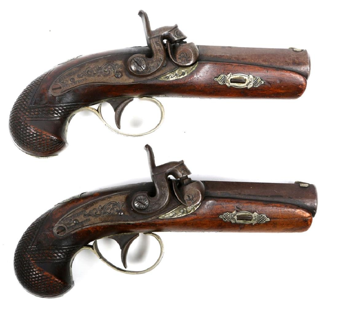 DERRINGER PERCUSSION PISTOL PAIR MARKED DEERRINGER