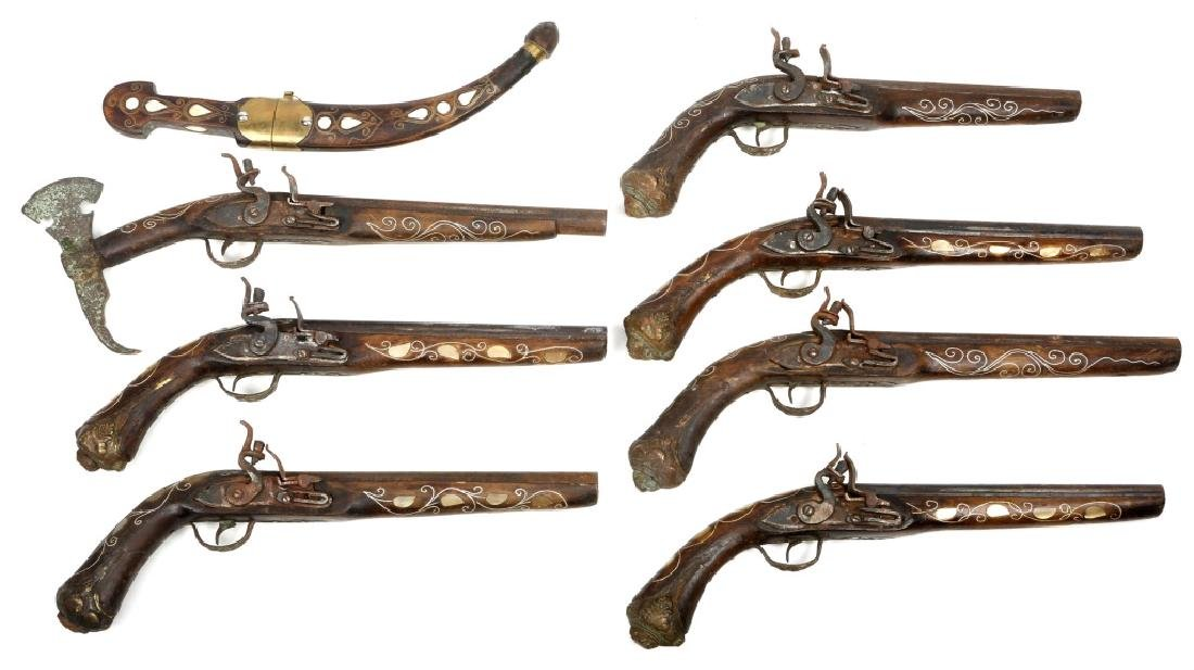 REPLICA FLINTLOCK PISTOLS LOT OF 7