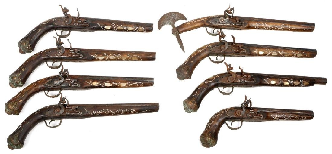 REPLICA FLINTLOCK PISTOLS LOT OF 8