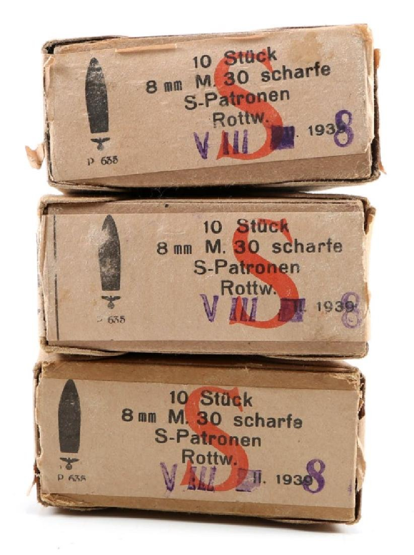 WWII GERMAN M.30 8MM SCHARFE AMMO LOT OF 3
