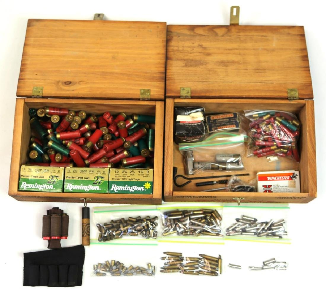 ASSORTED AMMO AND MISC IN WOODEN WINCHESTER BOXES