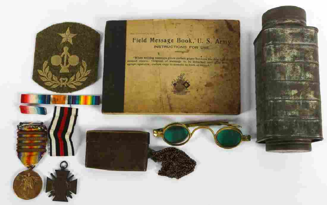 WWI WORLD MISC ITEMS MEDALS BOOK PATCH LOT