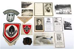 WWII GERMAN PATCHES DEATH CARD & PHOTOS MIXED LOT
