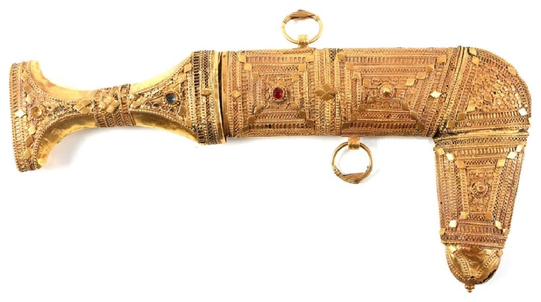 JEWELED GOLD SAUDI PRESENTATION JAMBIYA DAGGER - 2