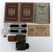WWII GERMAN BUCKLE ID BOOK  EPAULETTES MIXED LOT