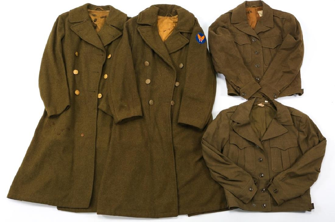 WWII US ARMY OVERCOAT AND IKE JACKET LOT OF 4