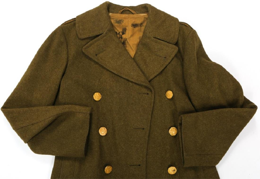 WWII US ARMY OVERCOAT AND IKE JACKET LOT OF 4 - 3